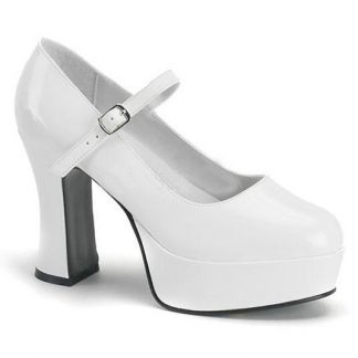 white Mary Jane shoes with 4-inch chunky heels