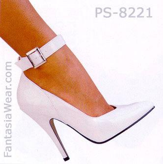 model wearing Ankle strap patent pump shoe with 5 inch heel Seduce-431