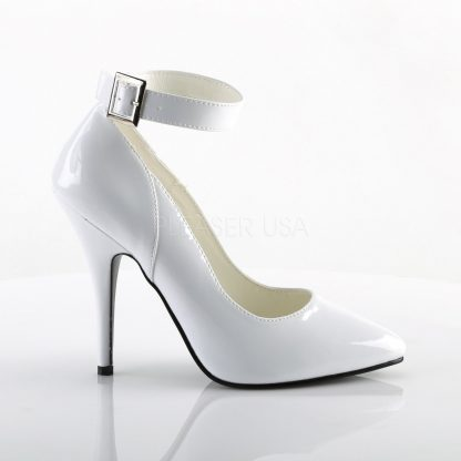 side view Ankle strap white patent pump shoe with 5 inch heel Seduce-431