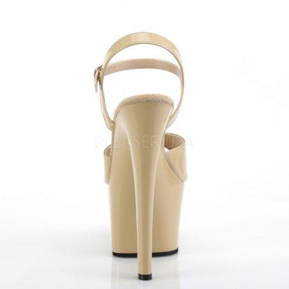 back of High heel cream platform sandal shoes with 7-inch heel SKY-309