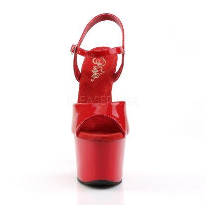 front of High heel red platform sandal shoes with 7-inch heel SKY-309