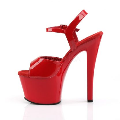 side view of High heel red platform sandal shoes with 7-inch heel SKY-309