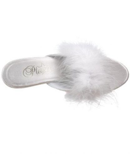 top of Fuzzy white feather trim slippers with 3 inch heels Belle-301F