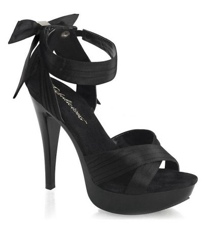 Cocktail-568 Black criss-cross pleated strap sandal with 5 inch heel