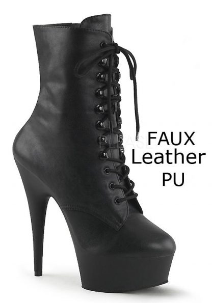 DELIGHT-1020 black faux leather lace-up ankle boot with 6 inch spike heel
