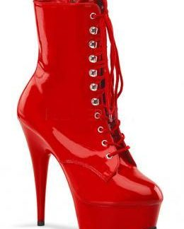 DELIGHT-1020 red lace-up ankle boot with 6 inch spike heel