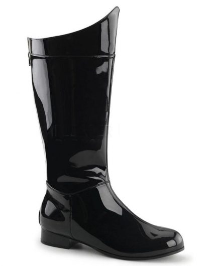 men's superhero shiny black costume boots
