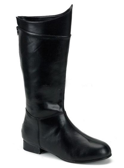 men's superhero black faux leather costume boots