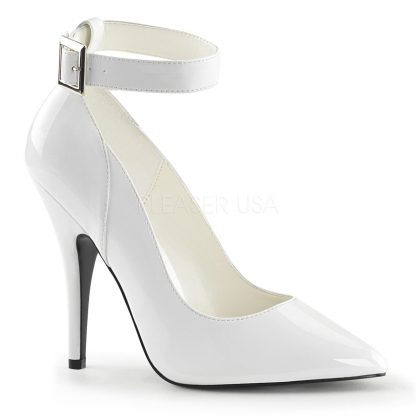 Ankle strap white patent pump shoe with 5 inch heel Seduce-431