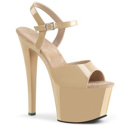 High heel cream platform sandal shoes with 7-inch heel SKY-309