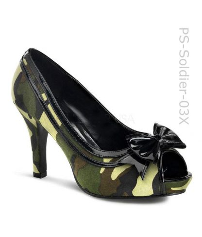 wide width camouflage peep toe pump with black bow Soldier-03X