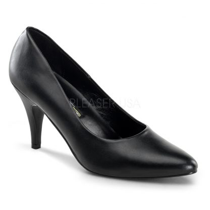 Classic black faux leather pump shoes with 3-inch spike heels Pump-420