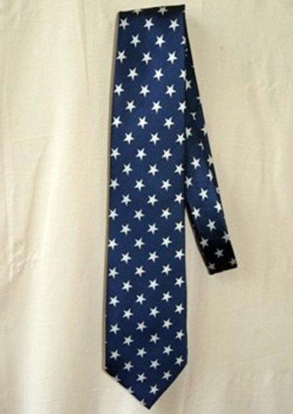 USA American flag dark blue men's neck tie with stars 120712