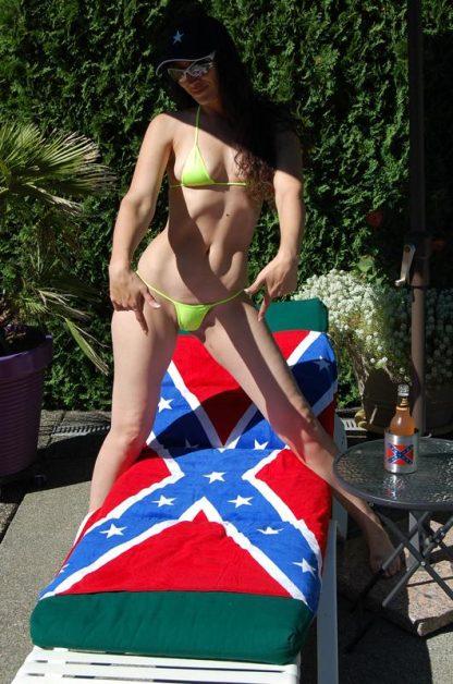 tanning on Rebel flag beach towel 65