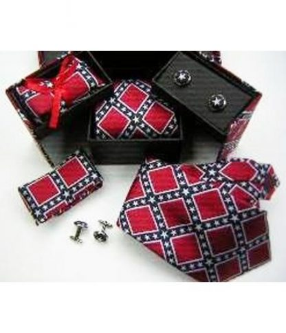 Rebel Confederate flag 3-pc Gift Set 23460 of neck tie, pocket square and cuff links