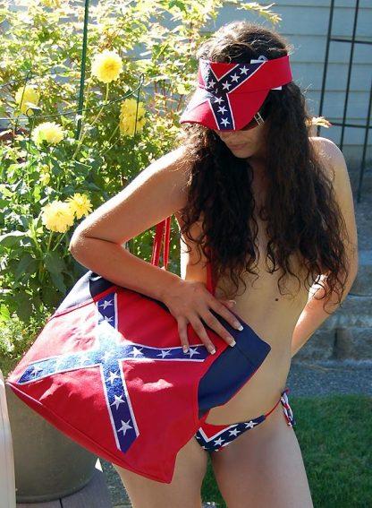 Rebel Confederate flag beach bag with Rebel visor