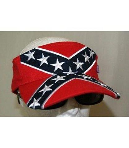 Rebel Confederate flag embroidered visor