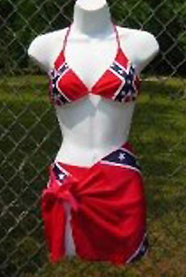 Rebel flag bikini Lycra triangle top 818693TT with bottom and skirt