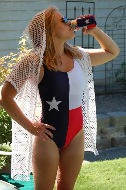 Texas Flag one piece swimsuit 818679 with Texas can Koozie