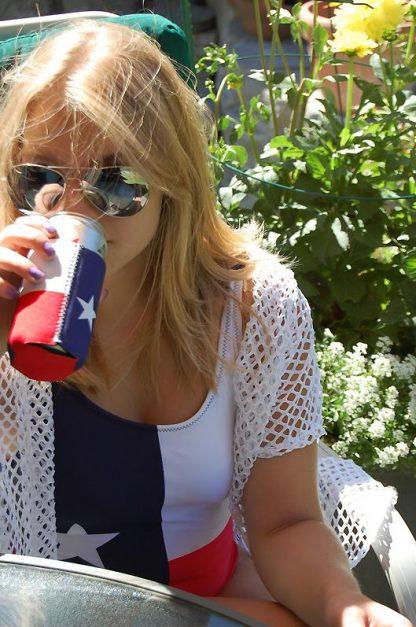 Texas Flag one piece swimsuit with Texas can sleeve
