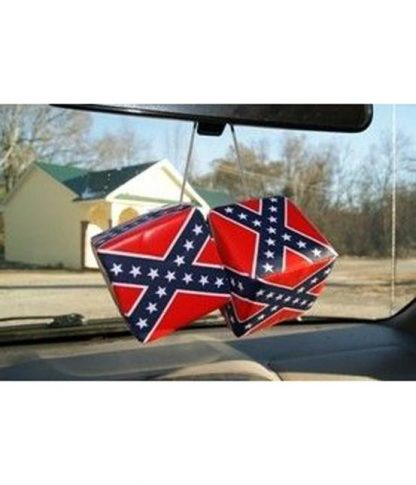 811153 Rebel Confederate flag 3-inch square hanging car dice