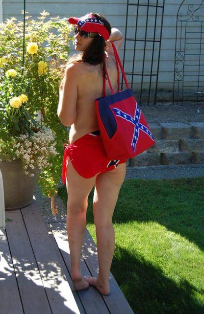 Rebel Confederate flag beach bag back view