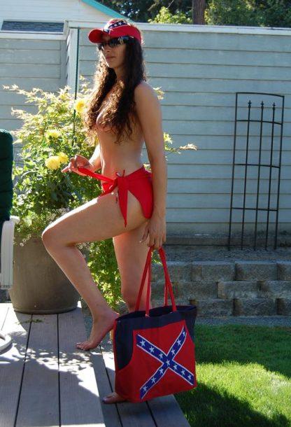 Rebel Confederate flag beach bag on picnic