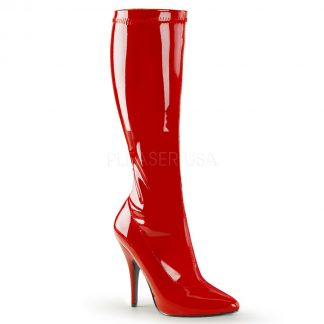 side view of red knee high boot with 5-inch spike heel Seduce-2000