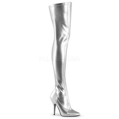 plain silver thigh boots with 5-inch spike heel Seduce -3000