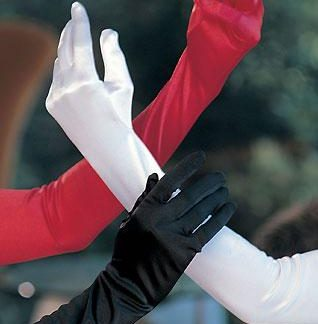 Long satin gloves 219 in red white or black