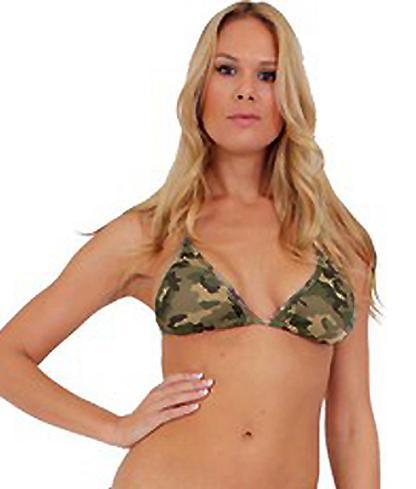 blonde model wearing Camouflage triangle bikini top