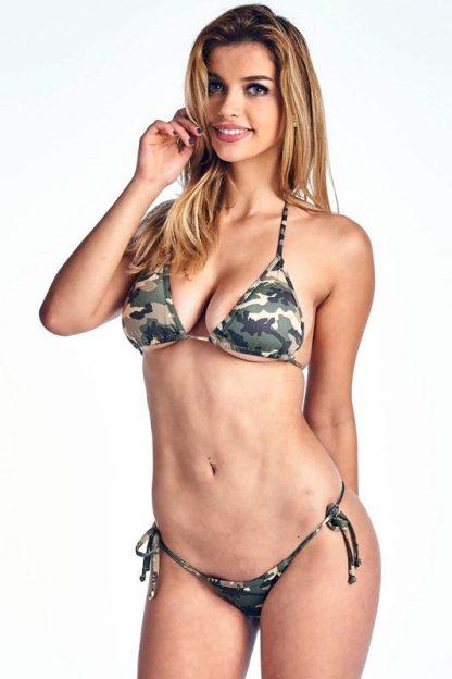Camouflage tie side bikini with brazilian back ST235
