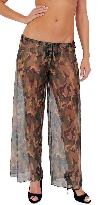 Sheer camouflage beach pants with adjustable front tie ST246