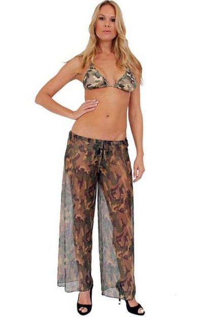 Sheer camouflage beach pants cover-up ST246
