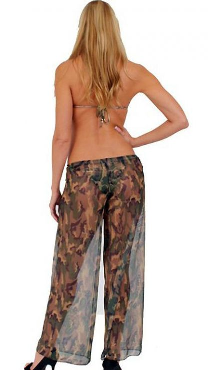 back view of Sheer camouflage beach pants with adjustable front tie