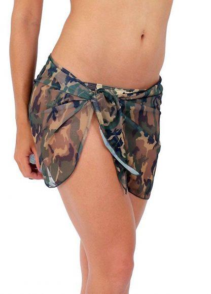 Sheer camouflage wrap skirt ST267