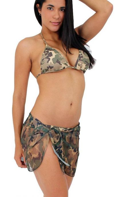 Camouflage tie side bikini with brazilian back with wrap skirt