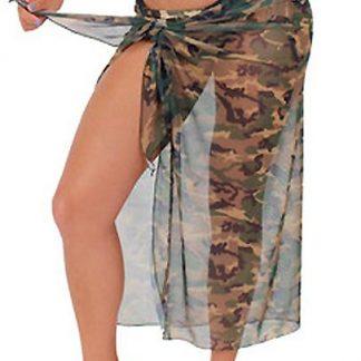 Sheer camouflage long wrap skirt ST269