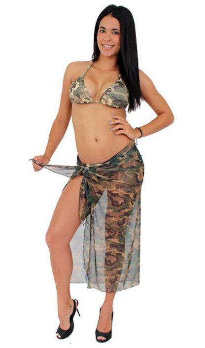 full view Sheer camouflage long wrap skirt ST269
