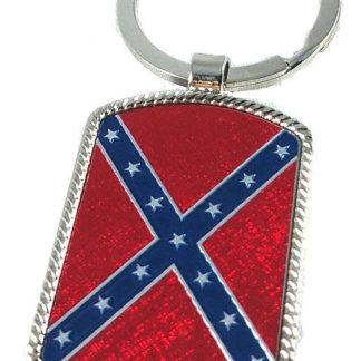 Rebel flag stainless steel key ring with sparkling red detail
