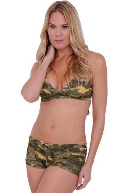 Camouflage bikini halter top ST802T with camo shorts