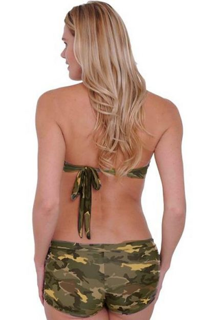 back of Camouflage bikini halter top and matching camo booty shorts