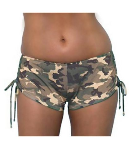 Camouflage side tie booty shorts ST803B