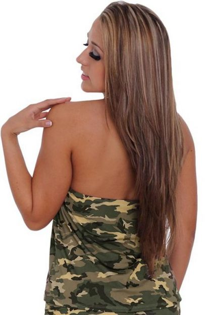 back of Camouflage tankini top ST804T with matching side tie booty shorts
