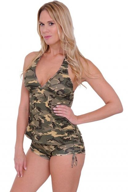 Camouflage side tie booty shorts ST803B with camo tankini