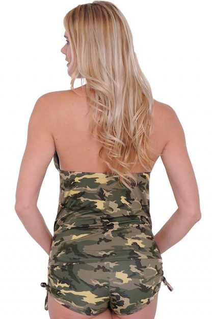 back of Camouflage tankini 2-pc set with matching side tie booty shorts