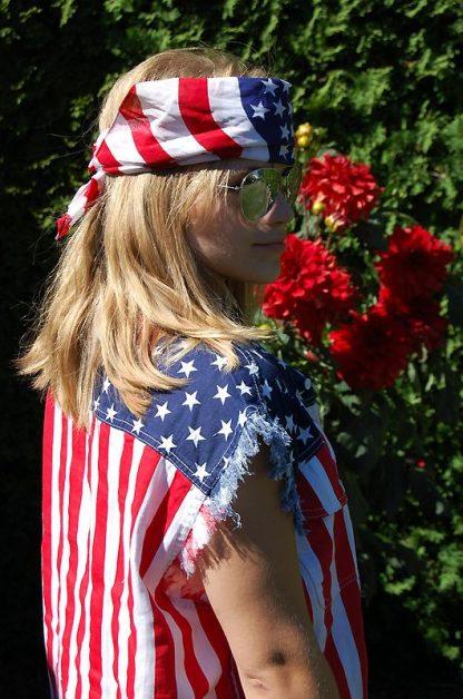 back of Waving USA American flag cotton bandana with USA shirt