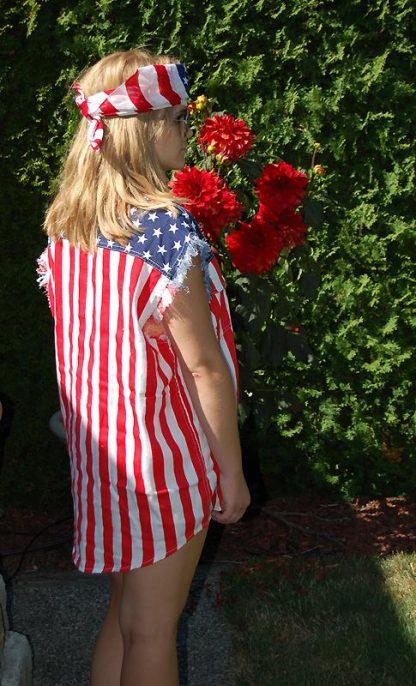 rear view Waving USA American flag cotton bandana with USA shirt