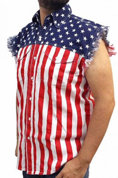 side of American flag frayed sleeveless men's denim biker shirt SD-USA