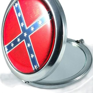 Rebel Confederate flag round pocket mirror